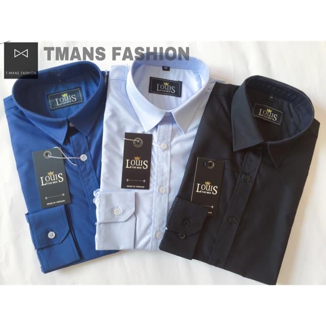 Áo sơ mi hộp nam cao cấp màu Xanh đậm, xanh nhạt và đen chất liệu lụa cottong, kiểu dáng ôm body Hàn