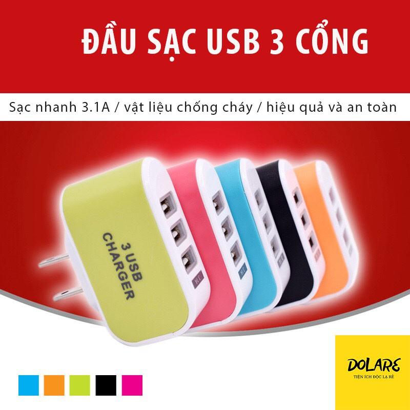 [Mã SR14MAY5 giảm 20K đơn 50K] Đầu Sạc Nhanh 3 Cổng USB CHARGER
