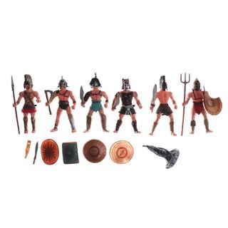 HEL❤ 6PCS Plastic Ancient Roman Gladiator Warriors Action Figure Model