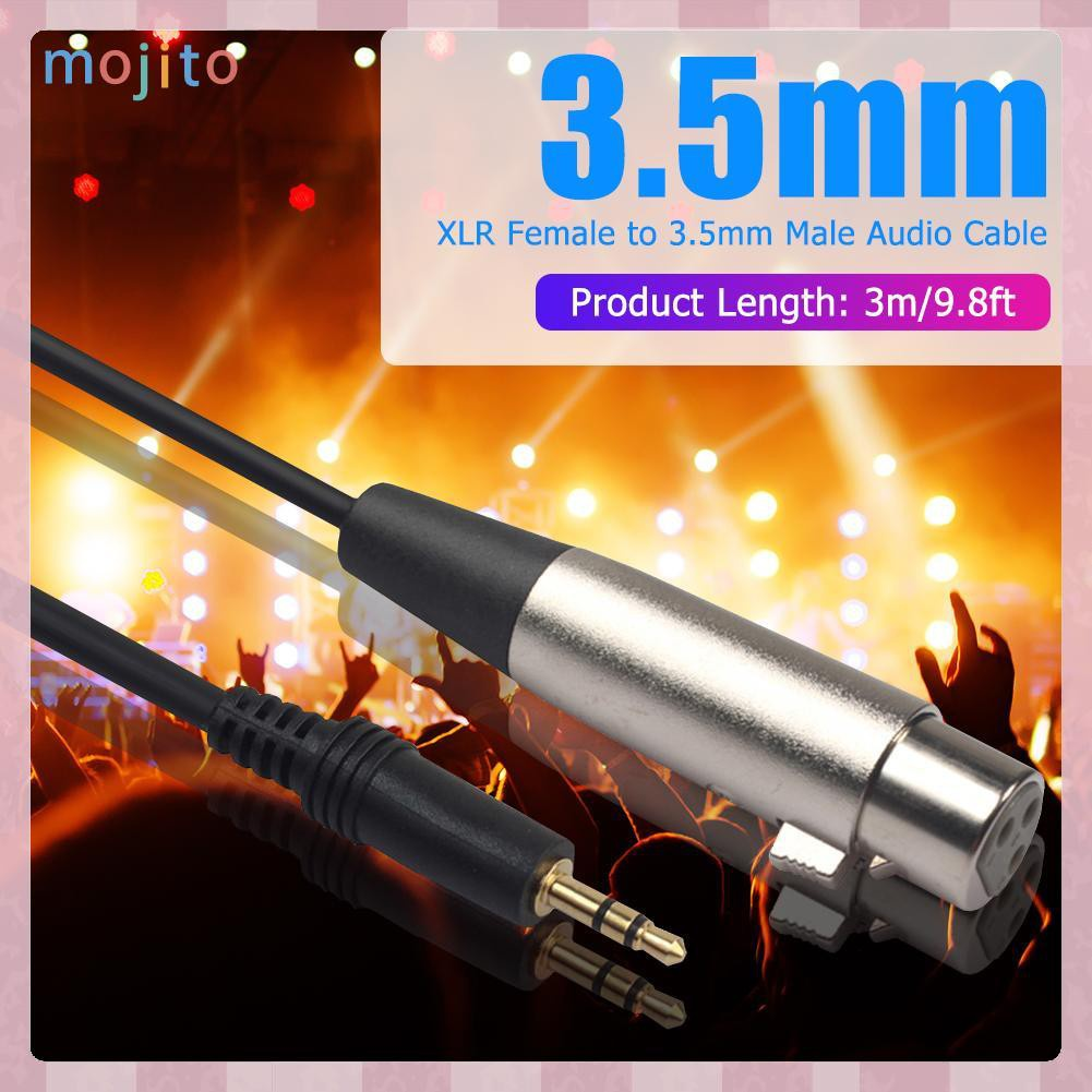 MOJITO 3 Pin XLR Female to 3.5mm 1/8 inch TRS Stereo Jack Male Mic Audio Cable
