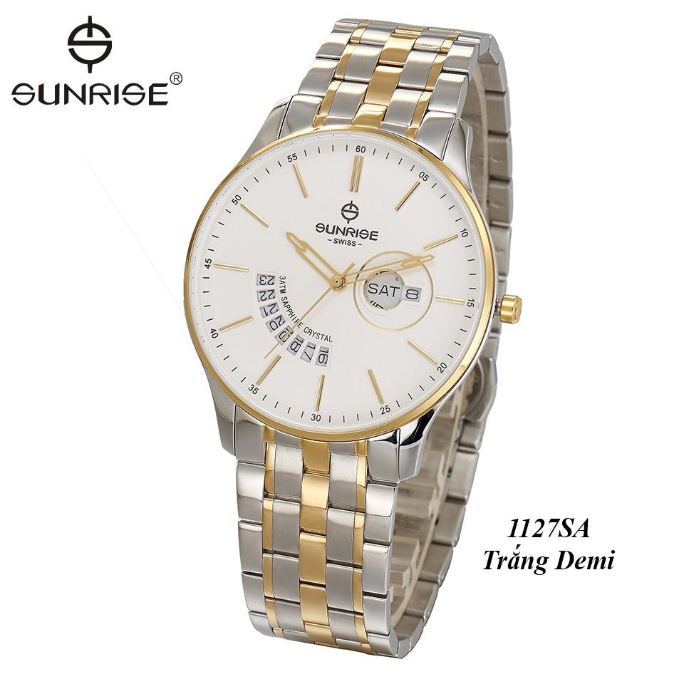 Đồng hồ nam siêu mỏng Sunrise 1127SA 2 lịch kính Sapphire chống xước chống nước tốt- Fullbox chính hãng