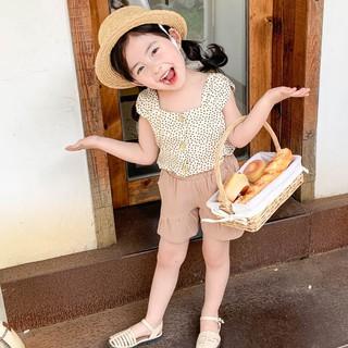 Set Áo Hai Dây + Quần Short Chấm Bi Cho Bé Gái 7 Tuổi