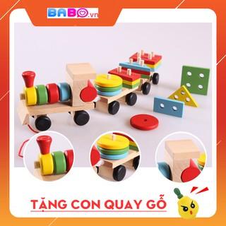 [FREE SHIP 99K] ĐỒ CHƠI GỖ Tầu hỏa xe kéo 3 phần tách rời kết hợp thả hình lắp ghép bằng gỗ giáo dục sớm cho bé