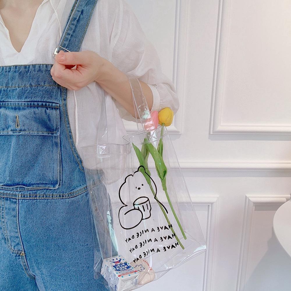 Túi Xách Tay Bằng Nhựa Pvc Trong Suốt In Hình Gấu Dễ Thương Cho Nữ
