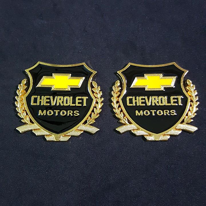 Bộ 2 miếng dán logo kim loại chữ CHEVROLET bông lúa