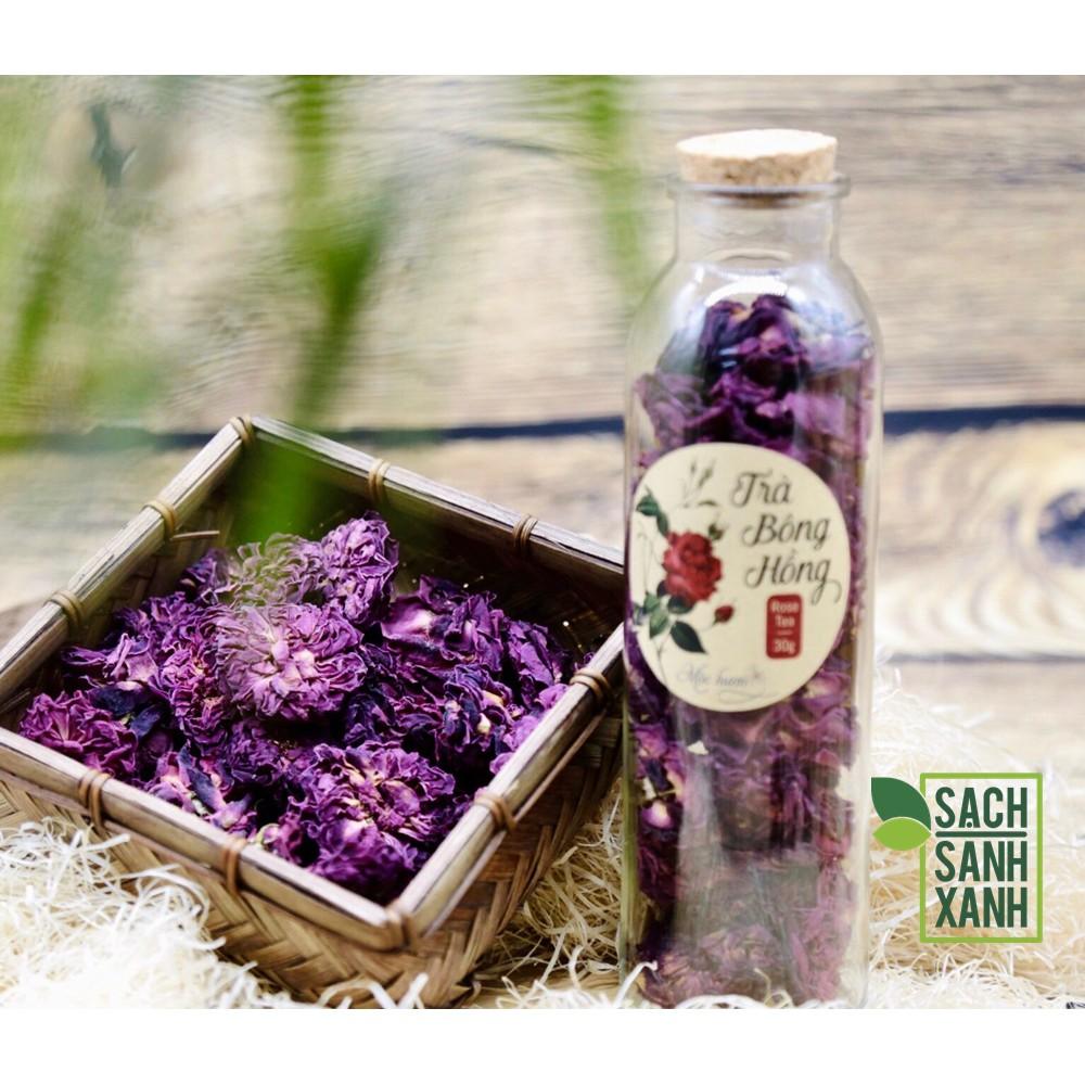 Trà bông hồng Mộc Hương trong chai thủy tinh, trà thơm ngát từ hoa hồng sạch vườn nhà Mộc Hương, trà thư giãn, đẹp da