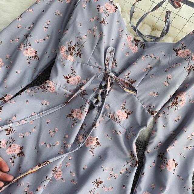 [HÀNG ORDER] Đầm xanh vintage hoạ tiết hoa thắt nơ eo ( Có ảnh thật)
