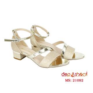 Sandal cao gót big size quai ngang ánh kim gót vuông 4cm MS 21092