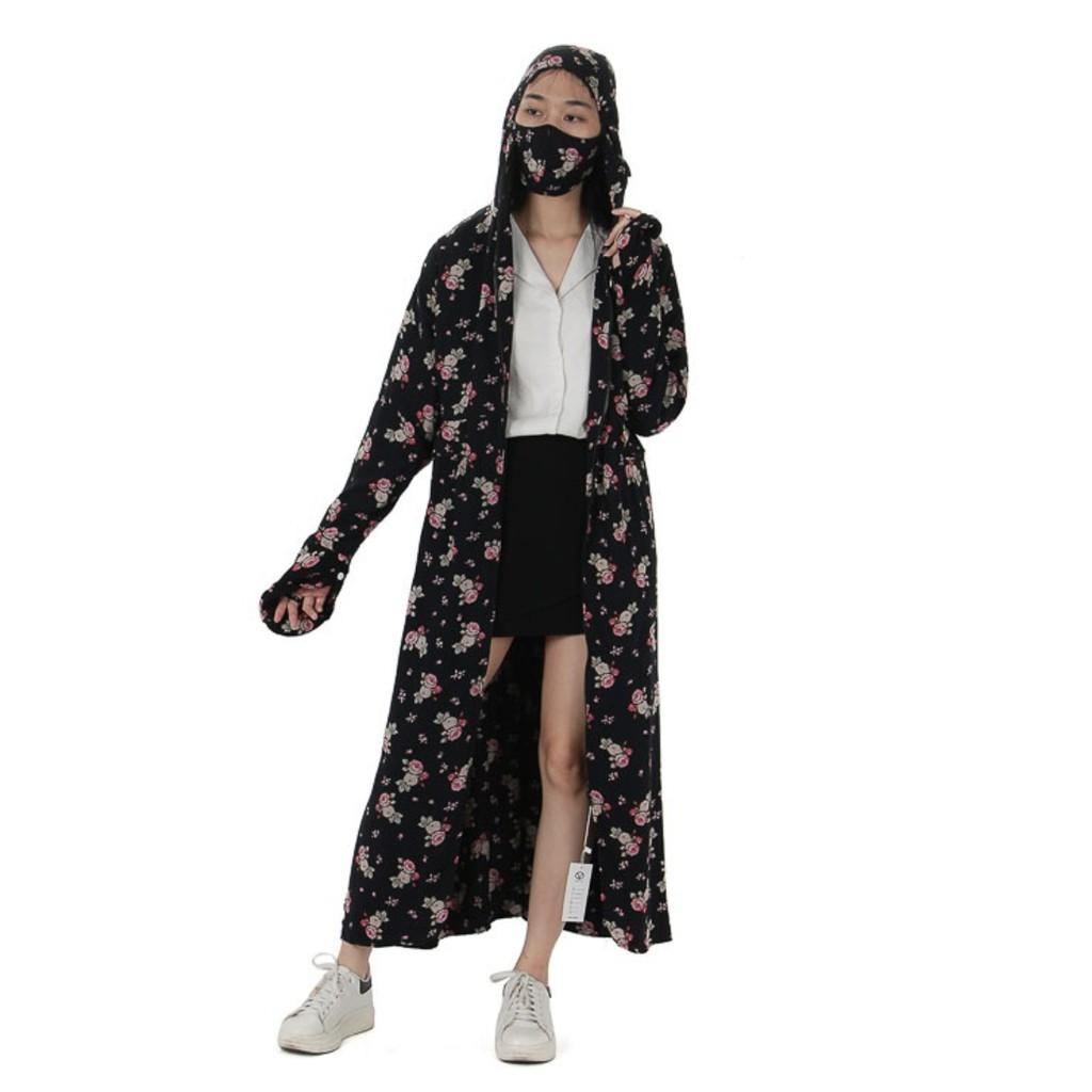 Áo chống nắng toàn thân Vicci CND001, lanh nhung (tole) 2 lớp phối họa tiết