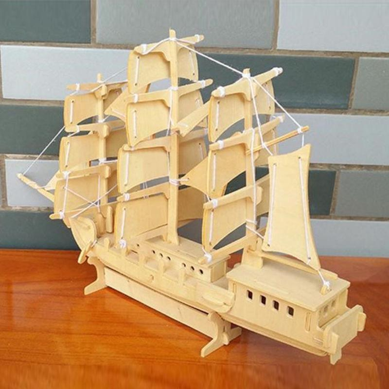 Simulated Wooden Sailing Ship Boat 3D Model Toys Kit Kids Children Play Toy Gift