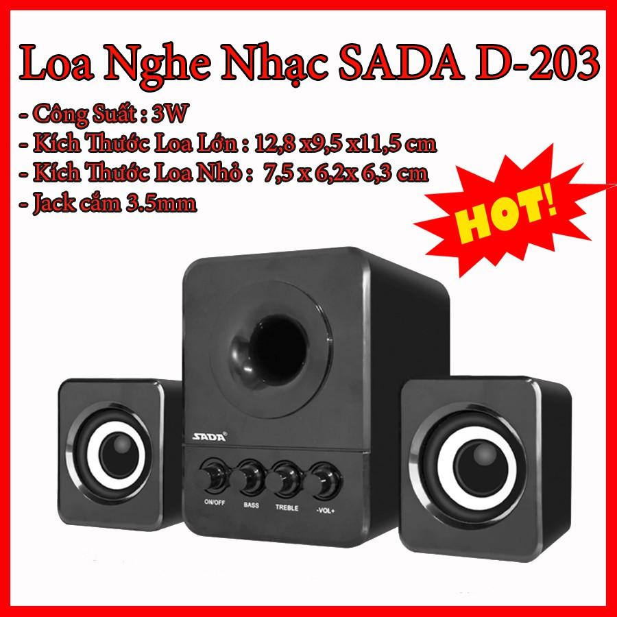 Bộ 3 Loa Vi Tính Máy Tính Nghe Nhạc 2.1 USB SADA D-203 Âm Thanh Sống Động, Nghe EDM, REMIX, Bolero Cực Đã