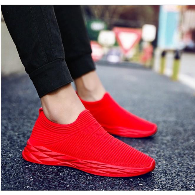 Giày thể thao lười nam vải cotton thoáng mát siêu mềm màu xám ,đen ,đỏ