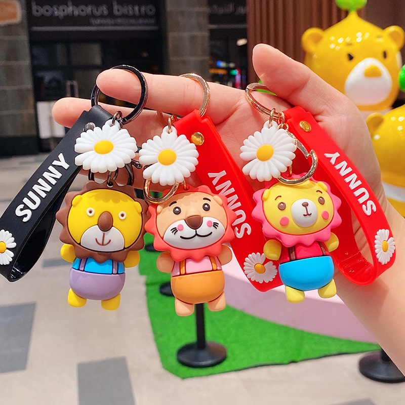 Hoạt hình sáng tạo búp bê dễ thương sư tử móc khóa sư tử nhỏ lẻ cô gái trái tim trẻ em túi khóa vòng quà tặng