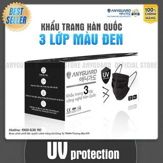 Khẩu Trang ANYGUARD Hàn Quốc 3 Lớp Chính Hãng Lọc 99% Vi Khuẩn - UV Protection Bảo Vệ Hằng Ngày - Màu Đen (Hộp 30 Cái) thumbnail