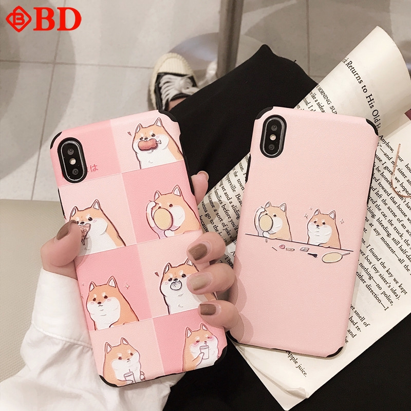 6G/6S 7/8 Plus Shell Case Soft Covers Cartoon Phone For iPhone XR XS MAX Cute Embossed