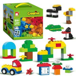 BỘ LEGO xếp hình lắp ráp CREATIVE 80 CHI TIẾT sáng tạo [LOẠI LỚN][cùng cỡ duplo]