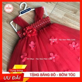 Đầm tutu cho bé ❤️FREESHIP❤️ Đầm tutu đỏ hoa hồng đỏ 1b
