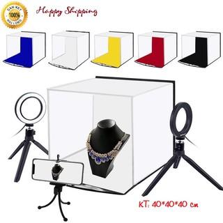 Hộp Chụp Ảnh Sản Phẩm, Hộp Studio 40 40 40 cm Kèm 2 Phông Nền, Hộp Chụp Ảnh Mini Gấp Gọn Tiện Lợi thumbnail