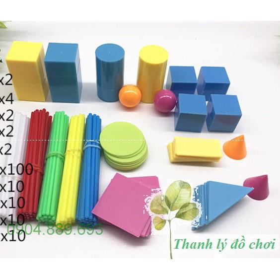 Hộp giáo cụ toán học hình học, hình khối, hình không gian cho trẻ