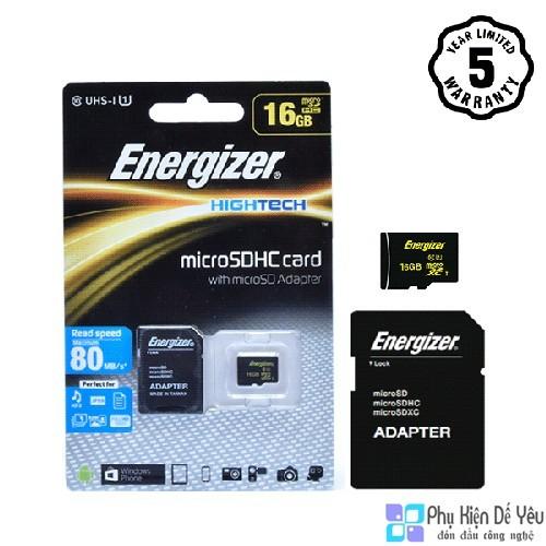 Thẻ nhớ Micro SDHC 16GB Energizer HT C10 U1 80Mb/s - FMDABH016A