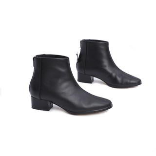 Boot Nữ Gót Thấp 3cm Mũi Vuông Da Bò Thật Pixie X612