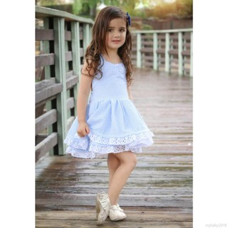 💕 My Baby 💕 Summer Girls Blue Stripe Lace Double Layer Dress