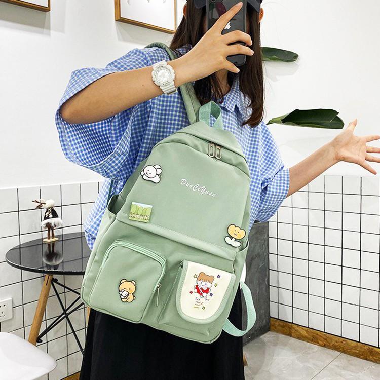 Balo nữ sinh tring học cá tính, trẻ trung chất vải đẹp  kèm sticker C1470