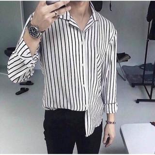 Áo sơ mi nam sọc đen trắng 💝 áo sơ mi tay dày HOT vải Thái bền đẹp chống xù (Cam kết giống hình)
