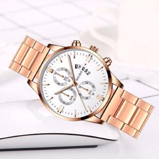 Đồng hồ đeo tay thạch anh có lịch hàng ngày dây đeo bằng thép không gỉ thời trang nam