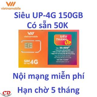 [Nhập mã ELPS204 giảm 10%]Siêu thánh sim UP- 4G VNMB miễn phí max 150GB data-upxan-CK