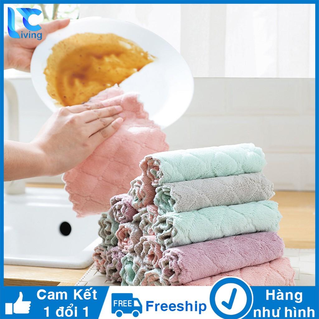 Khăn lau đa năng siêu thấm Living C, bịch 10 khăn lau nhà bếp vải mịn, hút nước siêu thấm _K69