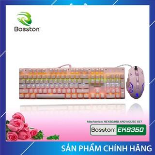 Combo Phím cơ + Chuột chơi game Bosston EK9350 Queen Pink Chính Hãng (Hồng), siêu xinh, độ nhạy cao, dây dù, USB 2.0