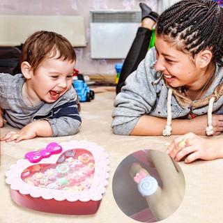Yaleღ 20pcs Kids Cartoon Resin Rings Girls Adjustable Jewelry with Love Gift Box
