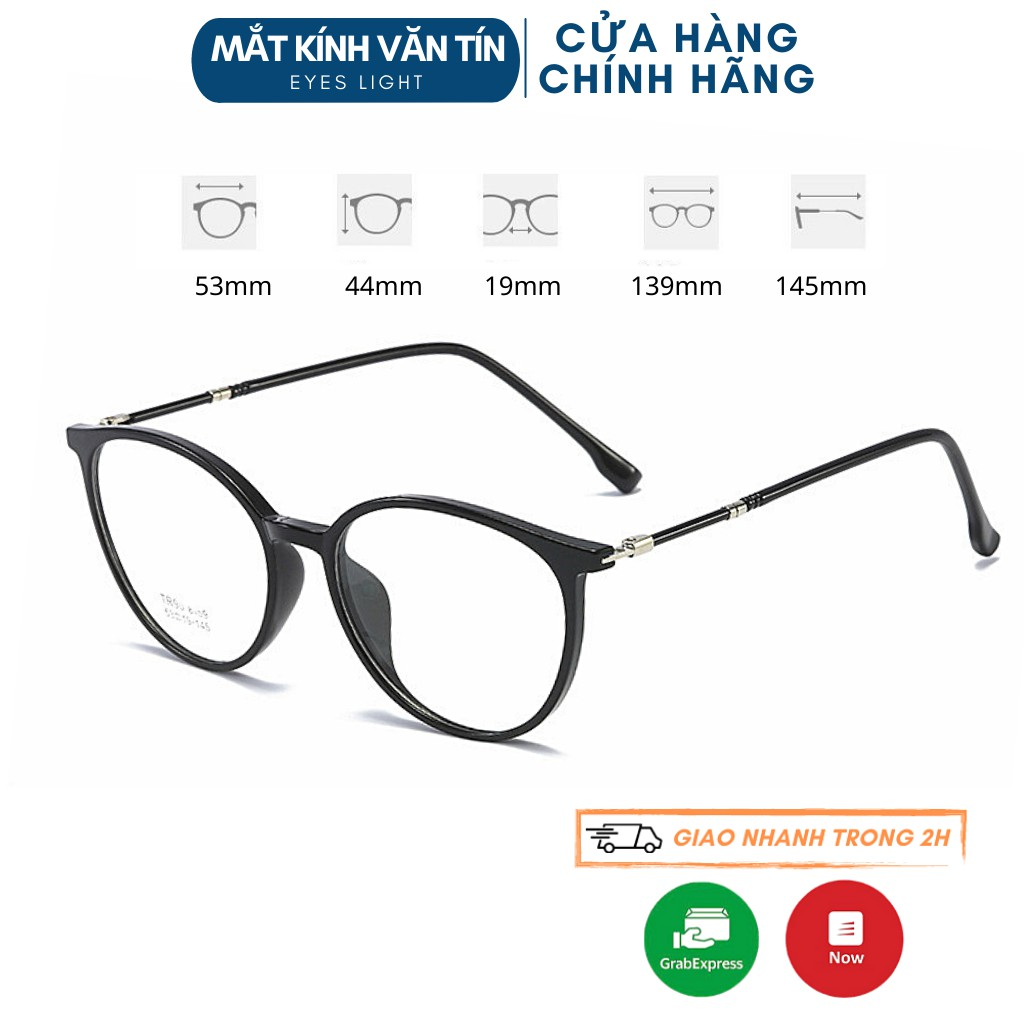 Gọng kính cận Eyes Light T8159 nam nữ mắt kính tròn càng nhựa pha kim loại nhiều màu