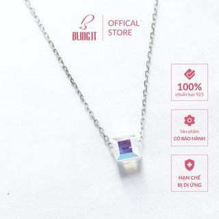 Dây chuyền bạc nữ 925 có bảo hành Bling It phong cách unisex đơn giản với thiết kế một viên đá vuông lấp lánh BIVC116 thumbnail