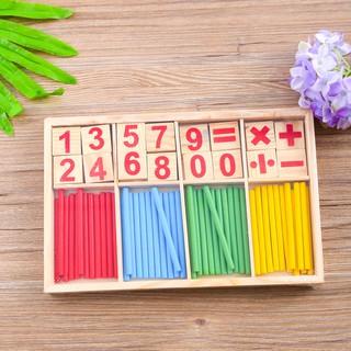 Bé học toán với bảng gỗ que tính và số