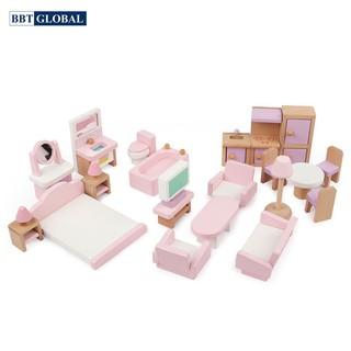 Bộ đồ chơi trẻ em nội thất nhà búp bê bằng gỗ BBT Global MSN19034 thumbnail