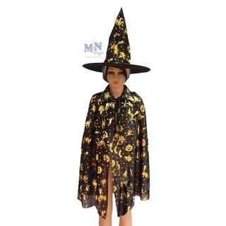 Set áo choàng phù thủy kèm mũ hóa trang Halloween cho bạn từ 2 tuổi trở lên
