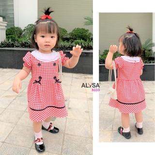 Váy đầm bé gái ALYSA kids kẻ xòe đính nơ và cúc thiết kế cao cấp vnxk cho em bé điệu