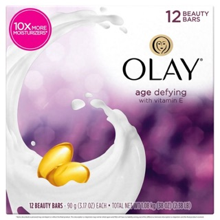 Xà bông cục Olay Age Defying Beauty Bar Soap for Women, 3.17 oz, 12 ct