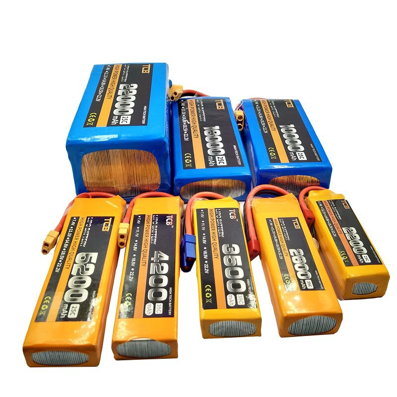 Pin Lipo TCB 2S 3S 4S 6S 1500mah 2200mah 2500mah 2800mah 5400mah 7000mAh 35C giắc cắm XT60 XT60H jack T JST các thể loại