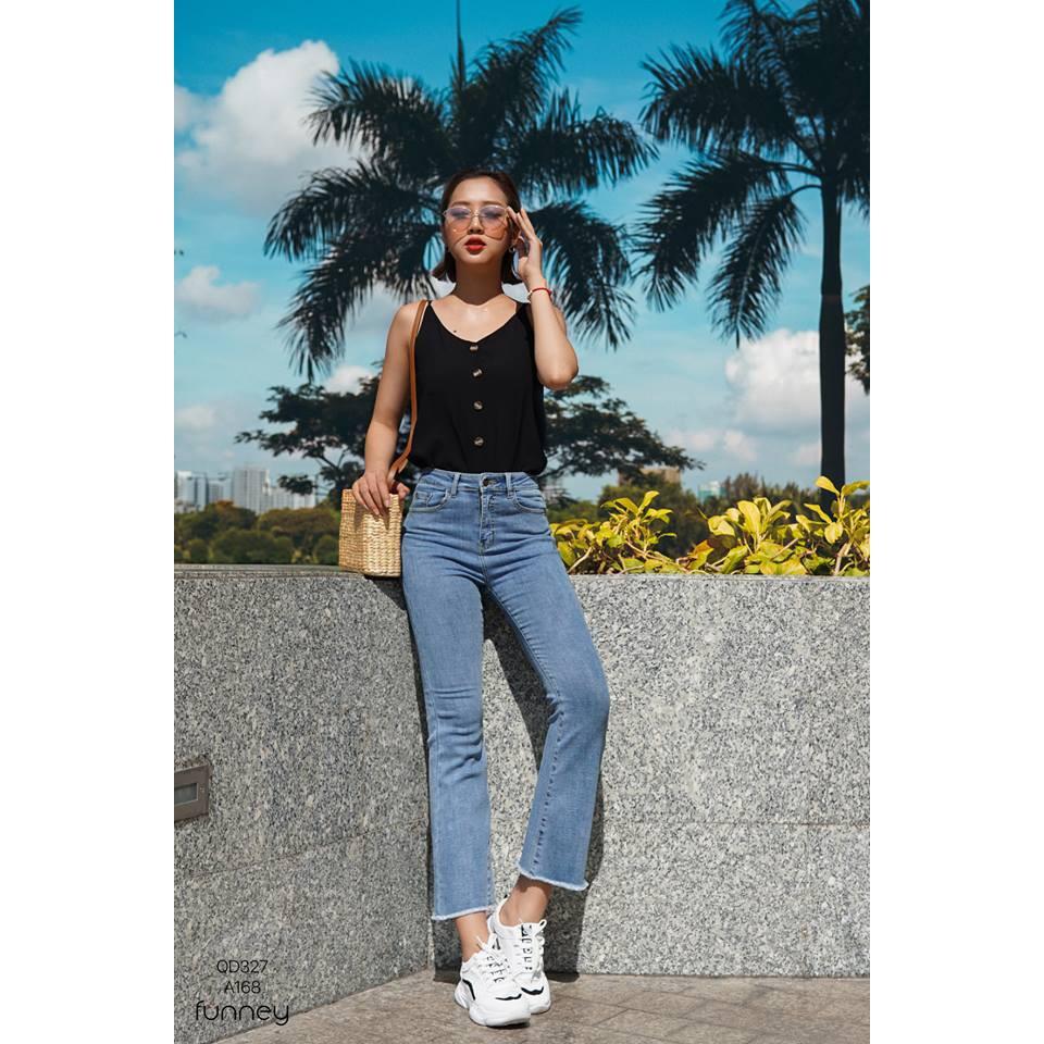 [Mã WASEPRN hoàn 20% xu đơn 99k] Quần jean nữ lưng cao jean ống loe siêu hot