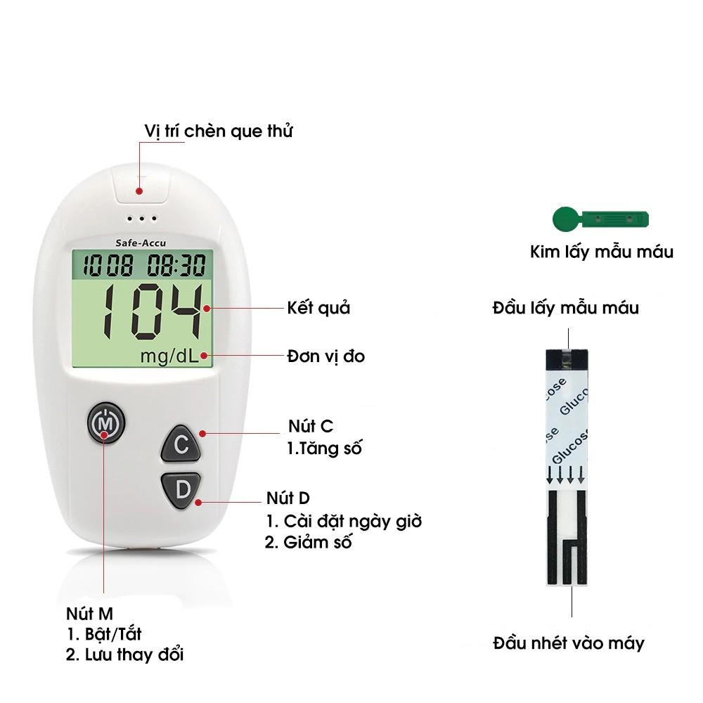 Máy đo đường huyết Safe-Accu đo tiểu đường, phát hiện tiểu đường bảo hành 1 đổi 1 trọn đời - Guty Home