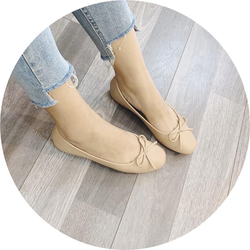 Giày bệt nữ nơ nhỏ da siêu mềm, lên chân cực xinh