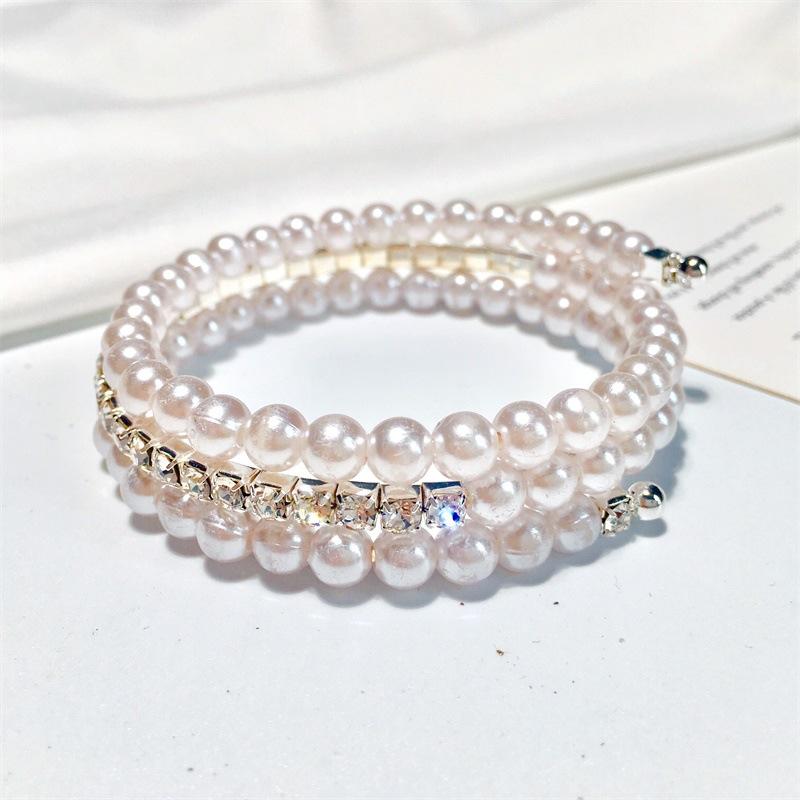 Vòng tay 3 lớp ngọc trai phối kim cương giả thời trang Hàn Quốc cho nữ