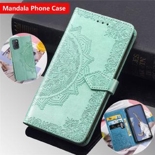 Bao da điện thoại dập nổi Mandala có ví đựng thẻ khóa từ cho Oppo A52 A92 A5 A9 2020 A31 A91 A5S A7 A3S A83 F9 Pro