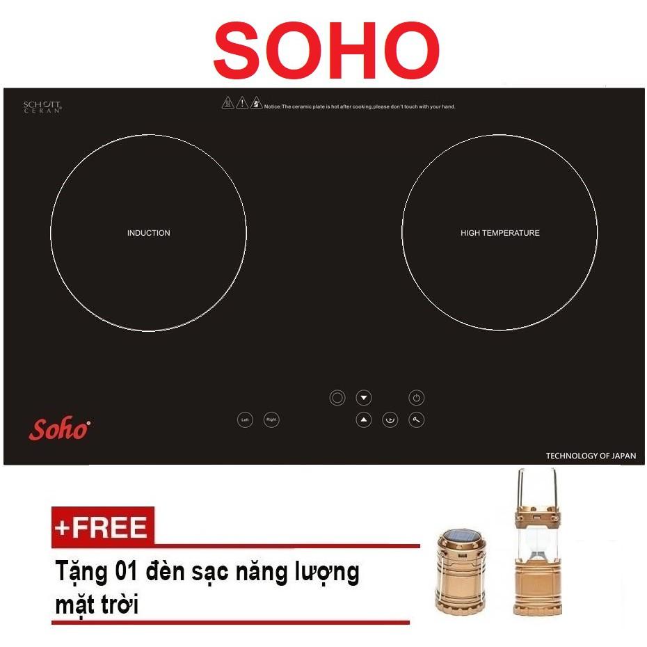 Bếp Âm Điện Kết Hợp Combo Soho SH-2799BBI 2018 (1 Từ, 1 Hồng Ngoại) Tặng Đèn Bộ Đèn Sạc Năng Lư