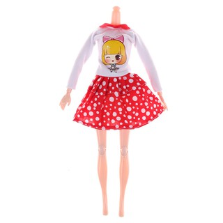 "Fashion Handmade Doll White Dots Skirt for 11"" doll Party Dress Clothes"
