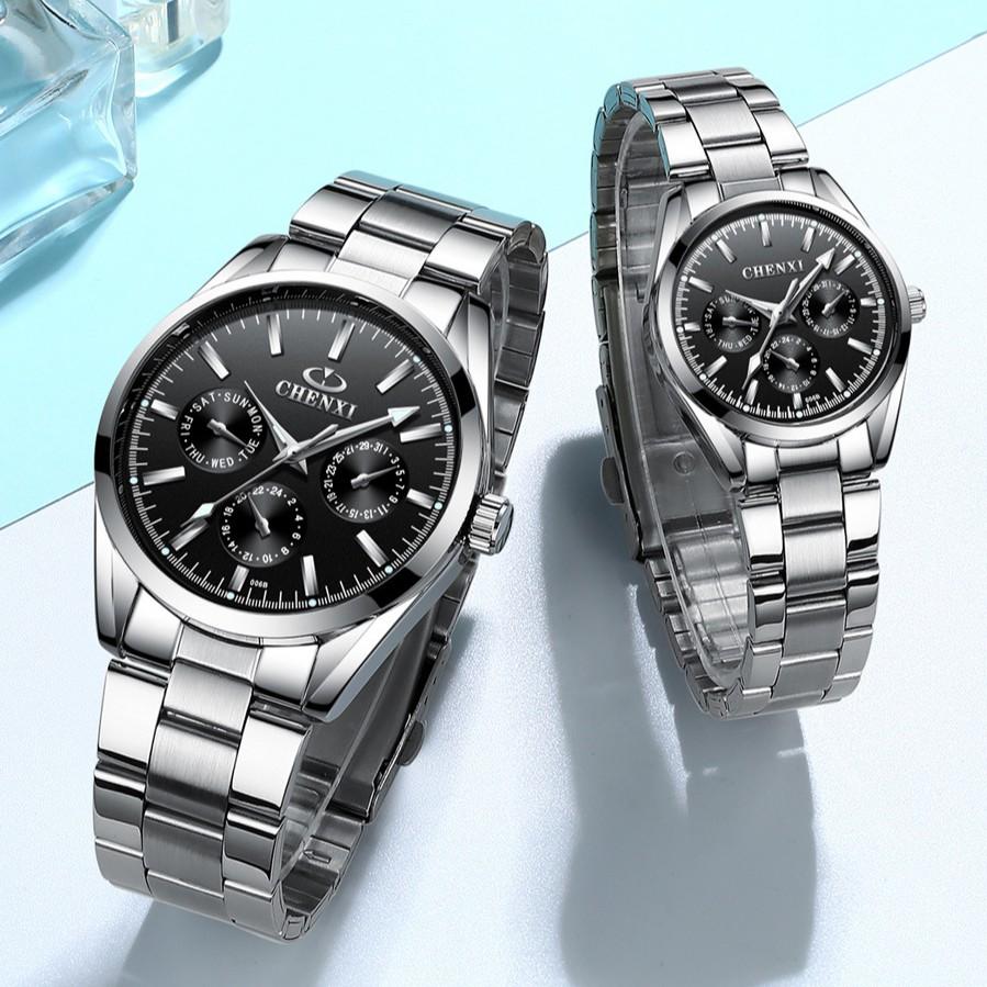 Đồng hồ nam CHENXI dây thép không gỉ cao cấp kim dạ quang - CHEI1 MD