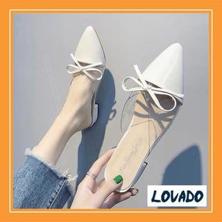 Giày dép nữ dáng sục tim nơ gót 3cm bền đẹp kiểu dáng thời trang giá rẻ thumbnail